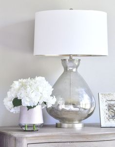 Master Bedroom – mercury glass lamp and white hydrangeas Bedroom Lamps, Home Decor Bedroom, Bedroom Ideas, Mercury Glass Lamp, Glass Lamps, Small Master Bedroom, Teen Bedroom, Master Suite, Home Decor Inspiration