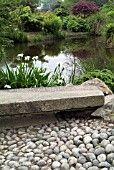 pond pool flat stone pebbles river rock