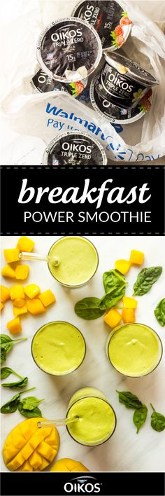 Say hello to your new favorite green smoothie recipe! This Breakfast Power Smoothie combines Dannon® Oikos® Single Serve Triple Zero Greek Yogurt, spinach, almond butter, mango, and bananas to create the perfect creamy treat for you and your kids. Find these ingredients—as well as a variety of other delicious flavors of Dannon® Yogurt—at your local Walmart!