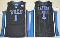 Duke Blue Devils 1 Kyrie Irving Jersey Black White Blue 1 Jabari Parker  College Jerseys Shirt e28edc598