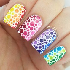 This rainbow nail art puts a twist on the traditional French manicure. Check out all of the best rainbow nail designs. Dot Nail Art, Polka Dot Nails, Acrylic Nail Art, Polka Dots, Diy Nails, Cute Nails, Pretty Nails, Winter Nails, Summer Nails