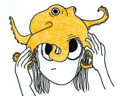 Cartoon of a girl wrestling with an octopus on her head.