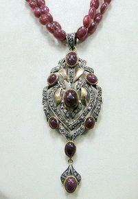 victorian gold ruby diamond necklace pendant strand