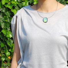 LORA BLUE sterling silver enamel necklace by joid'art SS14 #joidart #enamel #necklace