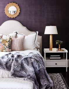 eggplant color scheme bedroom best wallpaper headboard ideas on bedroom with wal… Wallpaper Headboard, Of Wallpaper, Bedroom Retreat, Bedroom Decor, Bedroom Ideas, Master Bedroom, Headboard Ideas, Zen Room, Big Design