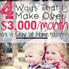 Do you want to stay at home but don't think you can afford it? You need a side j. , Do you want to stay at home but don't think you can afford it? You need a side job! This is how to make 3000 a month from home with side jobs. Stay At Home Mom, Make Money From Home, Way To Make Money, Make Money Online, How To Make, Money Today, Poo Pourri, Just In Case, Just For You