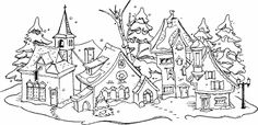 Retro Embroidery Design Christmas Town - Rubber Stamps, Art Stamps, Custom Stamps and Stamping Supplies Hungarian Embroidery, Vintage Embroidery, Embroidery Applique, Embroidery Stitches, Embroidery Patterns, Christmas Town, Christmas Colors, Xmas, Christmas Coloring Pages