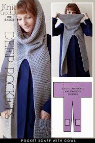 Needlecrafts,Knit, Crochet - Pocket Scarves                    Embellished pocket scarf |  Pinterest   Scarf with V-shaped pockets |    ...