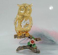 Eule, auf emailliertem Zweig, mit Kristall-Glas, gold-plattiert
