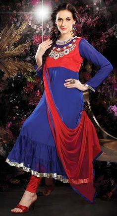 $116.16 Blue Zardosi with Bead Work Faux Georgette Anarkali Suit 26412