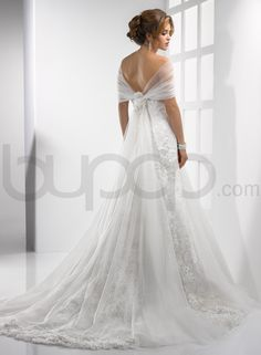Lace and Tulle A-line Scoop Neckline Fit and Flare Wedding Dress (Back)