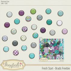 Quality DigiScrap Freebies: Fresh Start brads freebie from Ponytails Digital Designs