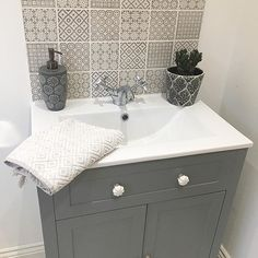 Ideas Bathroom Sink Splashback Tiles For 2019 Bathroom Sink Units, Small Bathroom, Bathroom Sink Vanity Units, Downstairs Cloakroom, Trendy Bathroom, Tile Bathroom, Bathroom Splashback, Small Bathroom Decor, Small Downstairs Toilet