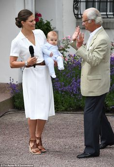 The Crown Princess made a short speech thanking people for their good wishes - 14 July 2016 (Pictured with her father King Carl Gustaf and her son Prince Oscar).