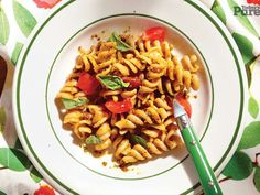 This vegetarian pasta with kale and red pepper pesto recipe can be made in less than 30 minutes, and... - Used with permission of / © Rogers Media Inc. 2015