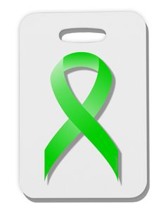 TooLoud Lyme Disease Awareness Ribbon - Lime Green Thick Plastic Luggage Tag