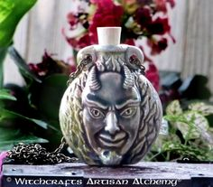 Old European Master Crafted Magical Arts™ Magical Jewelry, Bottle Necklace, Oil Bottle, Ceramic Beads, Alchemy, Witchcraft, Devil, Artisan, Ceramics