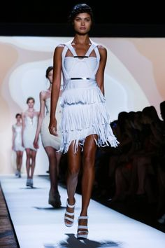 Sensual, white silhouettes took the floor for Herve Leger's spring '16 collection.