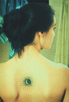 Upper Back Moon on Sun Tattoo for Girls
