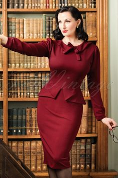 Vintage Chic Scuba Crepe Dress in Wine Red 100 20 19607 20161104 0013cw