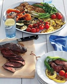 Try grilled bruschetta with this supper: Brush thick slices of crusty bread with olive oil, then grill until toasted on both sides. Flank steak can be used in place of hanger.