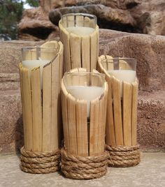 Bamboo Candle Holders by WildByDezine on Etsy