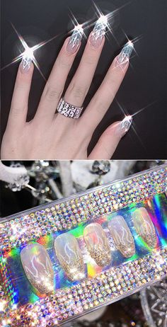 24Pcs/Box Laser Silver Flame Fake Nails Piece Wearable Artificial Finished Nails Badass Style, Advertising, Girly, Nails, Box, Silver, Beauty, Products, Women's