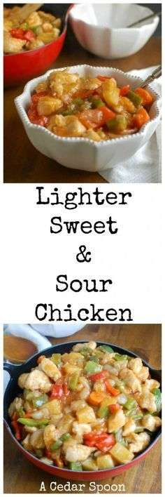 Forget take-out and make this Lighter Sweet and Sour Chicken that only takes 30 minutes to prepare, is packed full of fresh vegetables and a homemade sweet and sour sauce. You will come back time and time again to this recipe!// A Cedar Spoon
