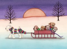 Wheaten terrier (wheatie) family going for a sled ride / Lynch signed folk art print by watercolorqueen on Etsy Wheaten Terrier, Fox Terrier, Terriers, West Highland Terrier, Naive Art, Jack Russell Terrier, Beautiful Dogs, Dog Art, Puppy Love