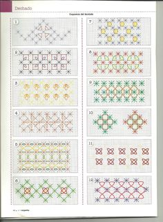 Hardanger Embroidery Tutorial Mila Artes Manuales lot of chicken scratch patterns (suisse embroidery) Swedish Embroidery, Hardanger Embroidery, Embroidery Applique, Cross Stitch Embroidery, Embroidery Patterns, Chicken Scratch Patterns, Chicken Scratch Embroidery, Smocking Patterns, Stitch Patterns