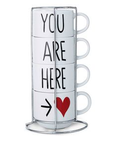 Look what I found on #zulily! 'You Are Here' Stack Rack Mugs - Set of Four by Prima Design #zulilyfinds
