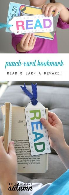 Good idea to encourage and reward reading: free printable punch card bookmarks. Punch a hole each time kids read, and when the card is full they get a reward. Good idea for reluctant readers. Bookmarks For Kids, Student Bookmarks, Reading Bookmarks, Free Printable Bookmarks, Printable Chore Cards, Kids Rewards, Reading Incentives, Kids Reward System, Reward Ideas