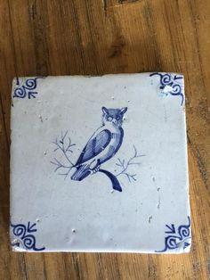 Old Dutch Tile made in Deft blue. Delft Tiles, Blue Tiles, Holland, Floor Cloth, Antique Tiles, Ceramic Owl, Owl Crafts, Batik, Handmade Tiles