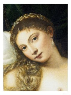Close up of Titian's Venus of Urbino - the same face as Woman in the Mirror?