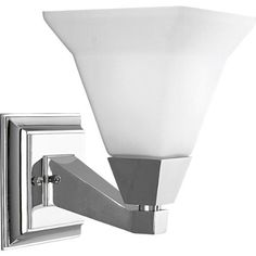 Progress Lighting P3135-15 1-Light Bath Bracket Fixture, Polished Chrome by Progress Lighting. $81.45. From the Manufacturer                Modern and architecturally inspired, the crisp geometric lines of the Glenmont Collection are graced by soft white conical glass shades. One-Light bath bracket. Fixture coordinates with the Delta Faucet's Bath Collection. Uses (1) 100-Watt medium base bulb 5-3/4-Inch Width by 8-3/4-Inch Height Fixture mounts in up or down position    ...