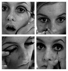Twiggy, giving a 4 step guide on how to apply eye make-up and fake eyelashes on. Twiggy, giving a 1960s Make Up, Beauty Makeup, Hair Makeup, Hair Beauty, Makeup Trends, Hair Trends, Twiggy Makeup, Twiggy Hair, Pale Lips