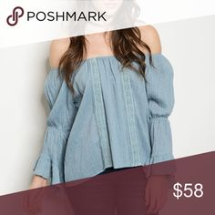 "🆕Blue off the shoulder 🎉🎊HP SIMPLY CHIC 🆕Pale blue off the shoulder top with bell sleeves. Pretty lace detail on the front. Bust size S-16"" M-18"" L-20"" Tops"