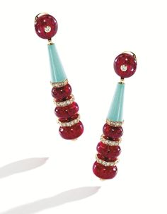PAIR OF 18 KARAT GOLD, SPINEL, TURQUOISE AND DIAMOND EARRINGS, BULGARI The Egyptian-inspired earrings set with eight red spinel beads weighing 40.05 carats, spaced by two turquoise cones, accented by round diamonds weighing 1.76 carats, gross weight approximately 13 dwts, signed Bulgari, numbered 8352.
