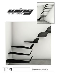 These flying steps give me happy and light feelings of free flight. In their design clearly defined lines of the wings from modern aircrafts.   When you climbing on these stairs you have sense of free flight above the ground.  Materials: black pai