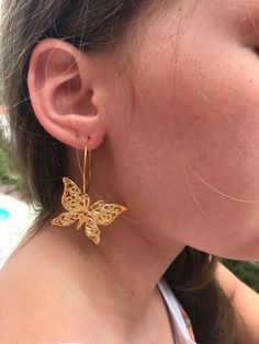 Gold silver filigree butterfly earrings, gold hoop butterfly earrings, dangle butterfly earrings, modern earrings, silver butterfly earrings