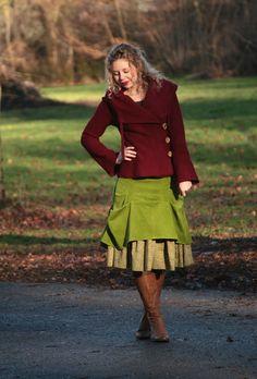 Kurzjacken - Jacke aus Wolle Walkjacke kirschrot - ein Designerstück von basia-kollek bei DaWanda