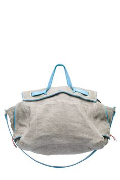 Jerome Dreyfuss linen bag, gray linen, light blue accents, leather strap and handle
