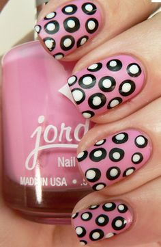 Add Polka Dots to a monochromatic dress for drama #nails #nailpolish #formalapproach