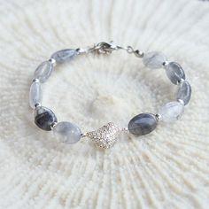 Quartz Bracelet Cloudy quartz bracelet with silver by CharmByIA, $25.00