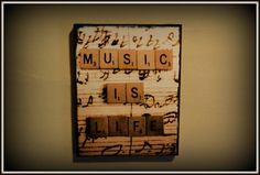 "8x10"" Handmade Photo Canvas Music is Life Scrabble Tile Sheet Music Wall Art Home Decor"