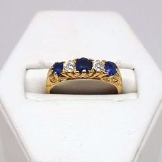 Antique Sapphire and Diamond Ring - 18ct Yellow Gold (3820)
