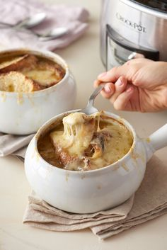 The MostSaved Slow Cooker Recipes to Make Right Now is part of French Onion Soup recipes - Having a solid lineup of slow cooker recipes at your fingertips is one of the best things you can do for your meal plan Crock Pot Recipes, Onion Soup Recipes, Slow Cooker Recipes, Cooking Recipes, Fall Recipes, Cooking Tips, Cooking Lamb, Cooking Turkey, Crockpot Meals