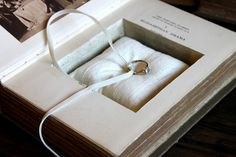 ring pillow book safe by pommes frites Book Safe, Ring Pillow, So Creative, Ring Bearer, Rustic Style, Book Lovers, Wedding Cards, Rustic Wedding, Wedding Inspiration