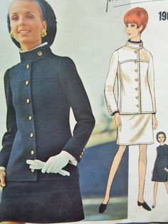 Vintage Vogue 1900 Sewing Pattern, Yves Saint Laurent, Shift Dress Pattern, LABEL, Military Jacket, 1960s Dress Pattern, Mod YSL 60s Sewing by sewbettyanddot on Etsy
