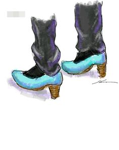 It is a sketch of the light blue shoes.  I drew while commuting on a train with the GALAXY Note.